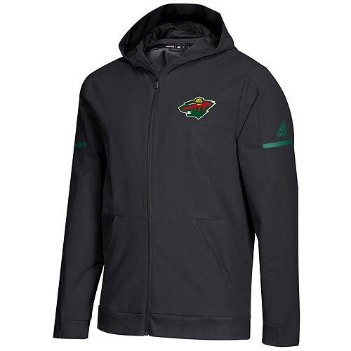 Men's adidas Black Minnesota Wild Squad Woven Full-Zip Hoodie