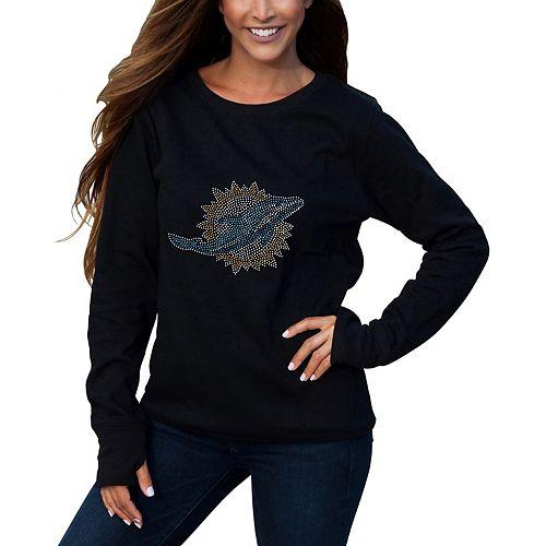 Women's Cuce Black Miami Dolphins Halfback Fleece Pullover Sweatshirt