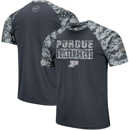 Men's Colosseum Charcoal/Camo Purdue Boilermakers OHT Military Appreciation Digi Camo Raglan T-Shirt