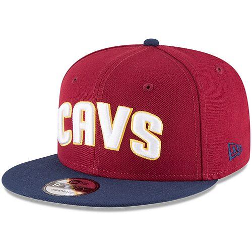 Men's New Era Wine/Navy Cleveland Cavaliers 2-Tone 9FIFTY Adjustable Snapback Hat