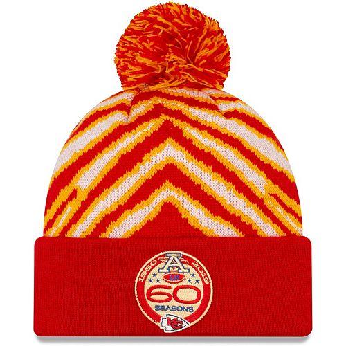 Men's New Era Red Kansas City Chiefs 60 Seasons Zubaz Cuffed Knit Hat