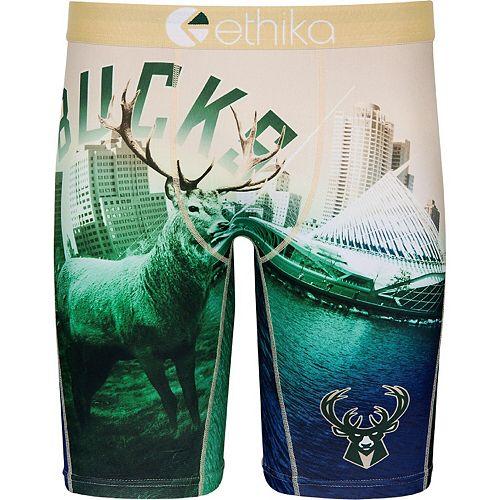 Men's Ethika for Fanatics Cream/Green Milwaukee Bucks Baller Boxer Brief