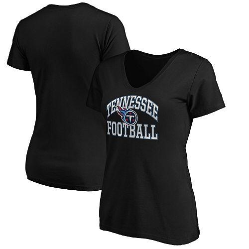 Women's Majestic Black Tennessee Titans Showtime Franchise Fit V-Neck T-Shirt