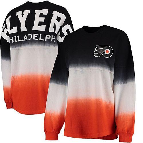Women's Fanatics Branded Black/Orange Philadelphia Flyers Ombre Spirit Jersey Long Sleeve Oversized T-Shirt