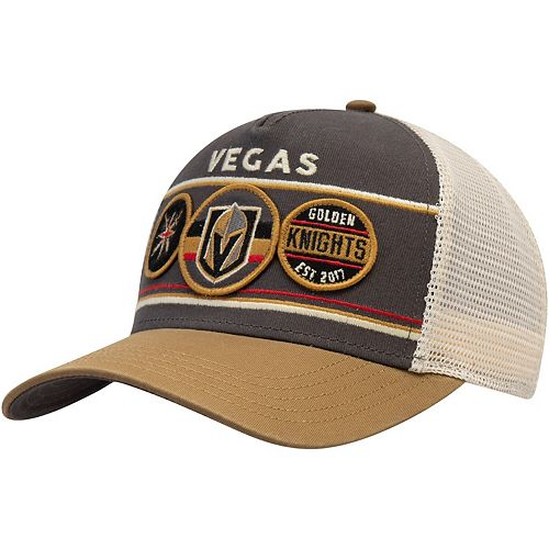 Men's American Needle Charcoal/Gold Vegas Golden Knights Domino Adjustable Trucker Hat