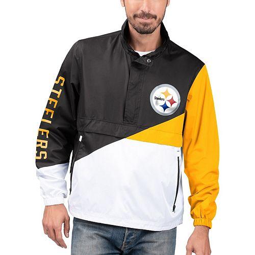 Men's G-III Sports by Carl Banks Black/White Pittsburgh Steelers Double Team Half-Zip Pullover Jacket