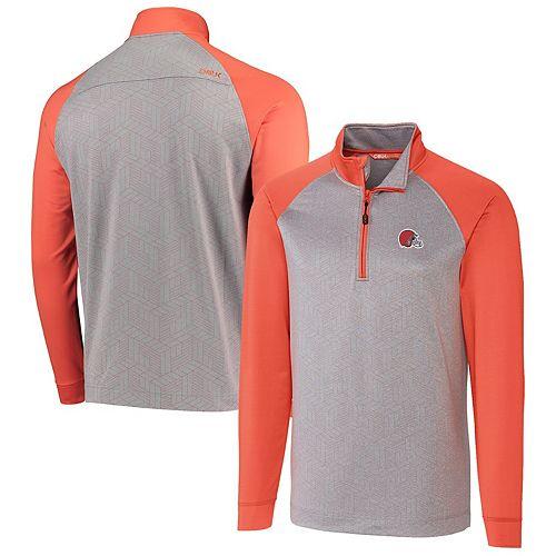 Cleveland Browns CBUK by Cutter & Buck All-Star Raglan Half-Zip Jacket - Gray/Orange