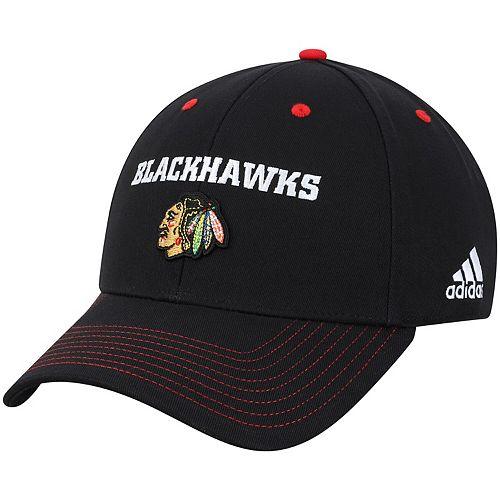 Men's adidas Black Chicago Blackhawks Team Color Contrast Stitch Lockup Adjustable Hat