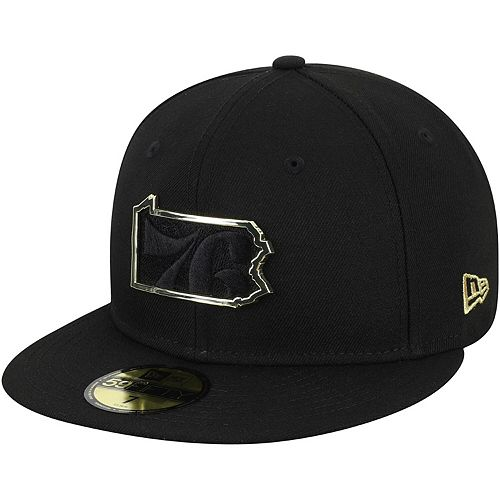 Men's New Era Black Philadelphia 76ers State Metal & Thread 59FIFTY Fitted Hat