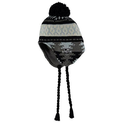 Men's adidas Black/Gray Los Angeles Kings Tassel Knit Hat With Pom