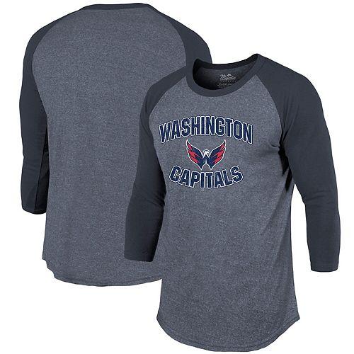 Washington Capitals Majestic Threads Team Favorite 3/4-Sleeve Tri-Blend T-Shirt - Navy