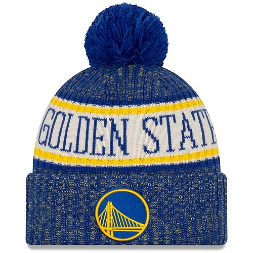 Men's New Era Royal Golden State Warriors Sport Cuffed Knit Hat with Pom