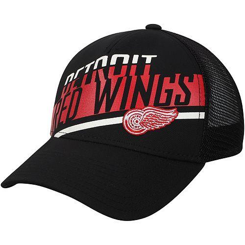 Men's adidas Black Detroit Red Wings Laser Trucker Adjustable Snapback Hat
