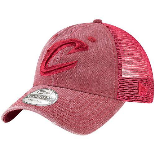 Men's New Era Wine Cleveland Cavaliers Tonal Washed Trucker 9TWENTY Adjustable Snapback Hat