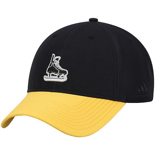 Men's adidas Black/Gold Pittsburgh Penguins Coaches Two-Tone Skate Slouch Adjustable Hat
