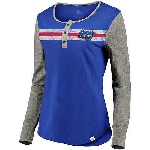 Women's Fanatics Branded Royal/Heathered Gray Washington Capitals True Classics Retro Henley Long Sleeve T-Shirt