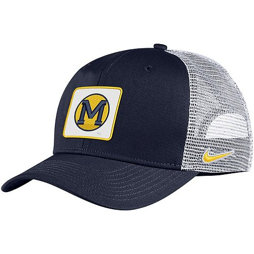Men's Nike Navy Michigan Wolverines Classic 99 Alternate Logo Trucker Adjustable Snapback Hat