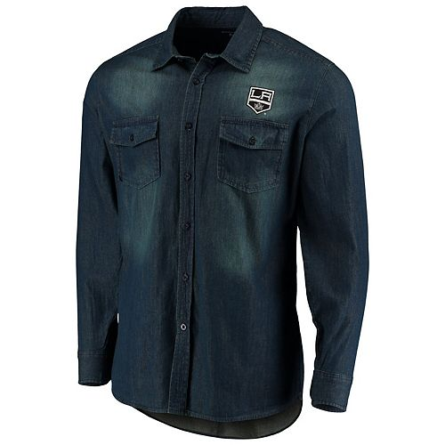 Men's Antigua Denim Los Angeles Kings Outlook Long Sleeve Button-Up Shirt