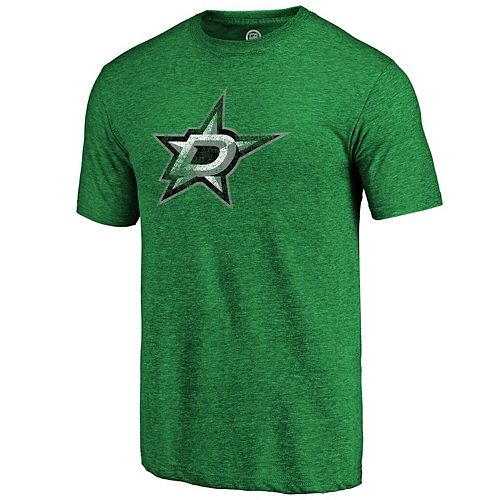 Men's Fanatics Branded Heather Green Dallas Stars Distressed Primary Logo Tri-Blend T-Shirt