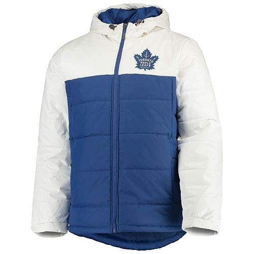 Men's G-III Sports by Carl Banks Blue/White Toronto Maple Leafs Exploration Polyfill Hooded Parka