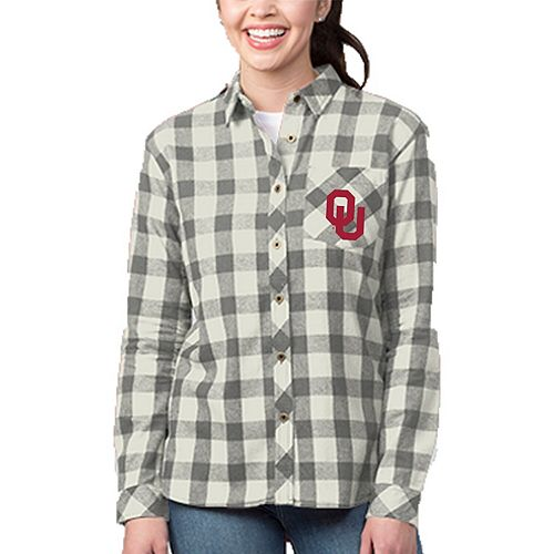 Women's Heathered Gray/Cream Oklahoma Sooners Buffalo Plaid Flannel Button-Down Shirt