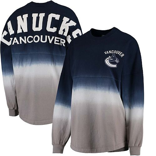 Women's Fanatics Branded Blue/Gray Vancouver Canucks Ombre Spirit Jersey Long Sleeve Oversized T-Shirt