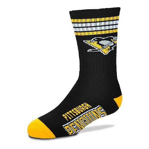 Youth For Bare Feet Pittsburgh Penguins 4-Stripe Deuce Quarter-Length Socks
