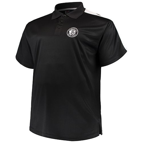 Men's Majestic Black/White Brooklyn Nets Big & Tall Birdseye Polo