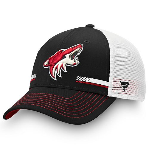 Men's Fanatics Branded Black/White Arizona Coyotes Iconic Stripe Trucker Adjustable Snapback Hat