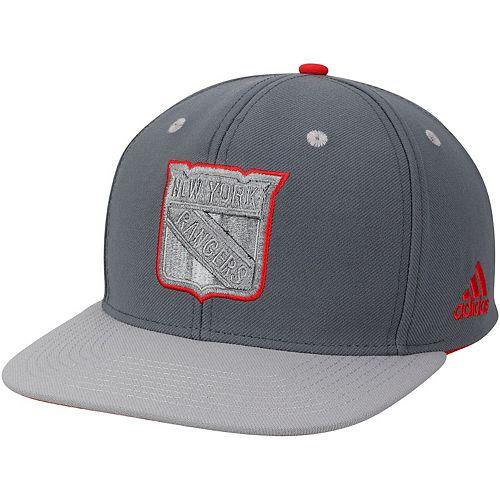 Men's adidas Gray New York Rangers Team Logo Adjustable Snapback Hat