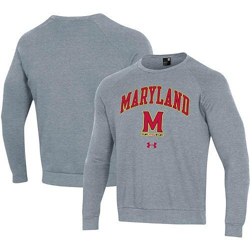 Men's Under Armour Heathered Gray Maryland Terrapins Arched Fleece Raglan Sweatshirt