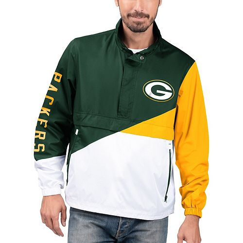 Men's G-III Sports by Carl Banks Green/White Green Bay Packers Double Team Half-Zip Pullover Jacket