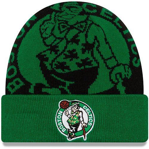 Men's New Era Kelly Green Boston Celtics Logo Whiz Cuffed Knit Hat