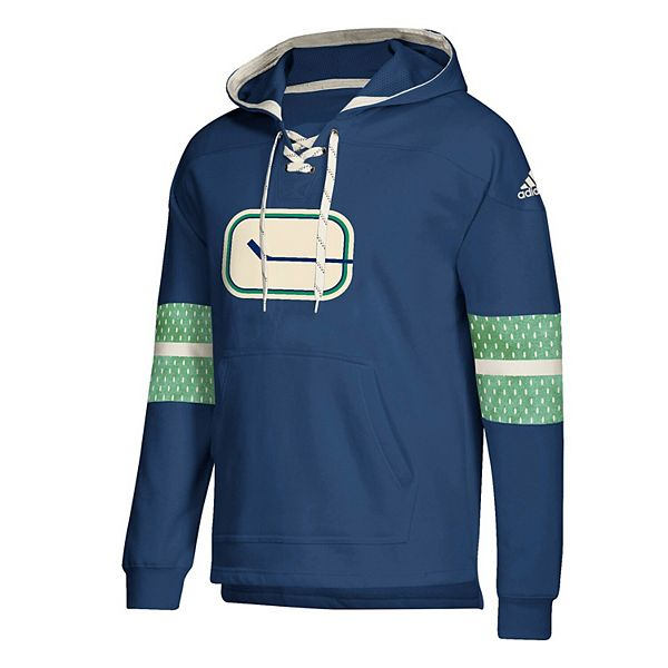 Men's adidas Blue Vancouver Canucks Jersey Lace-Up Pullover Hoodie