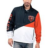 Men's G-III Sports by Carl Banks Navy/White Chicago Bears Double Team Half-Zip Pullover Jacket
