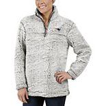 Women's Gray New England Patriots Sherpa Quarter-Zip Pullover Jacket
