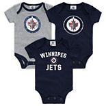 Infant Fanatics Branded Navy/Heathered Gray Winnipeg Jets Three-Pack Primary Logo Bodysuit Set