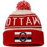 Men's Fanatics Branded White Ottawa Senators True Classic Z Route Cuffed Knit Hat with Pom