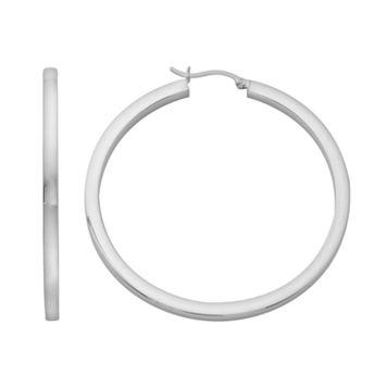 Platinum Over Silver Large Hoop Earrings