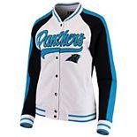 Women's New Era White/Black Carolina Panthers Varsity Full Snap Jacket