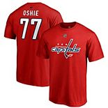 Men's Fanatics Branded TJ Oshie Red Washington Capitals Authentic Stack Name & Number T-Shirt