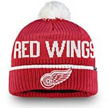 Men's Fanatics Branded Red Detroit Red Wings Iconic Stroke Cuffed Knit Hat with Pom