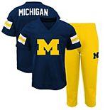 Preschool Navy/Maize Michigan Wolverines Training Camp T-Shirt and Pants Set