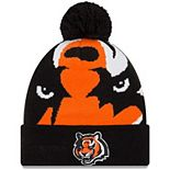 Men's New Era Orange Cincinnati Bengals Logo Whiz 3 Cuffed Pom Knit Hat