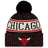 Men's New Era Black Chicago Bulls Sport Cuffed Knit Hat with Pom