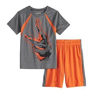 Boys 4-12 Jumping Beans® Crocodile Pieced Raglan Active Tee & Shorts Set