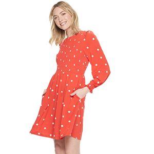 Women's POPSUGAR Long Sleeve Smocked Dress