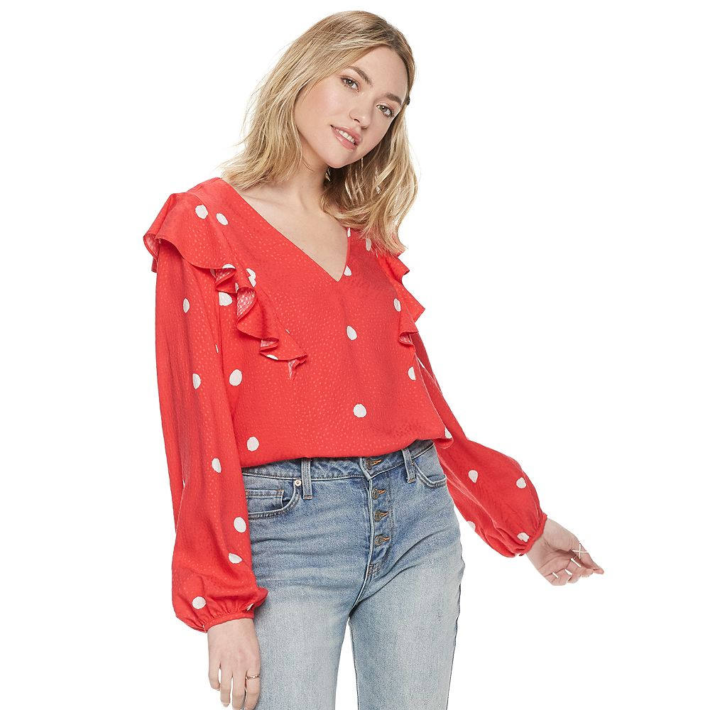 Women's POPSUGAR Ruffle Shoulder Blouse
