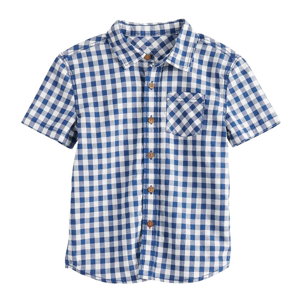 Boys 4-12 SONOMA Goods for Life™ Checkered Plaid Button Front Shirt
