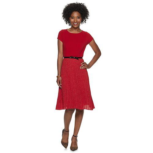 Petite ELLE™ Pleated Fit & Flare Dress